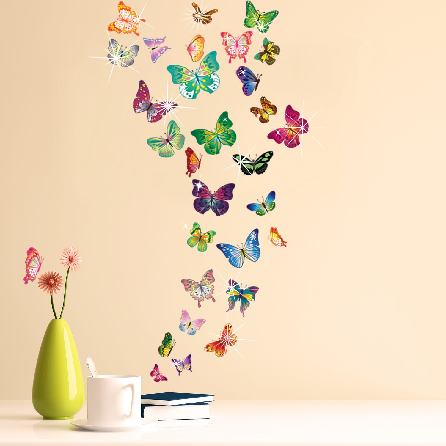 Wall Sticker Decal Butterflies with Swarovski Crystals