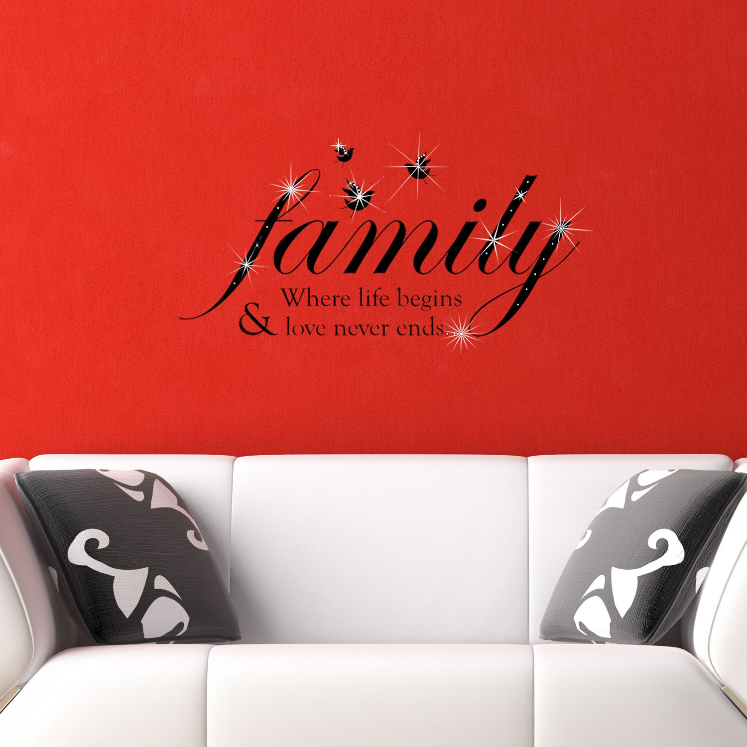 Wall Sticker Decal Family Quote with Swarovski Crystals