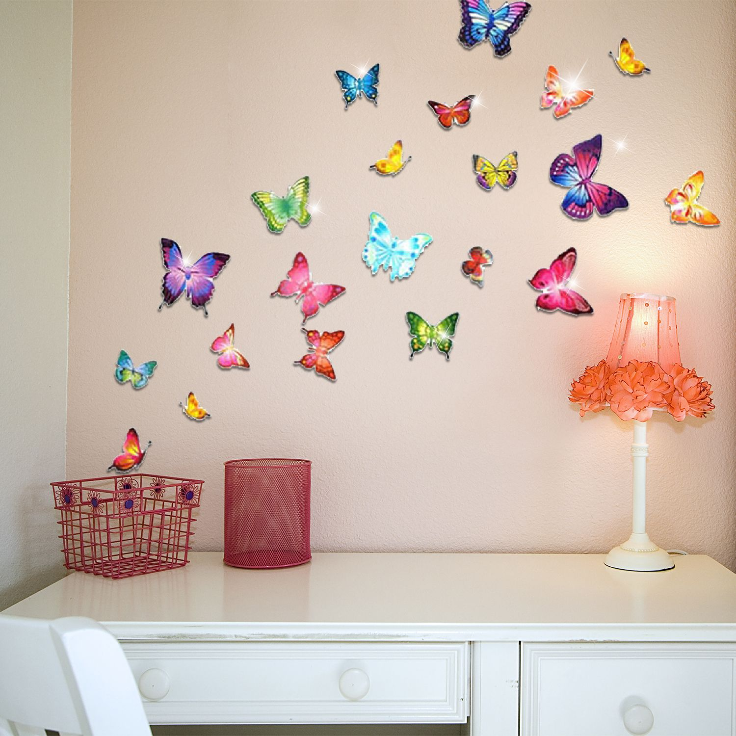 Wall Sticker Decal Colourful Butterflies with Swarovski Crystals