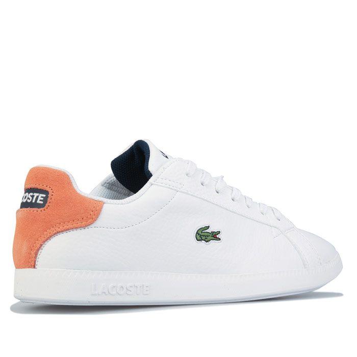 Women's Lacoste Graduate Leather Trainers in white orange