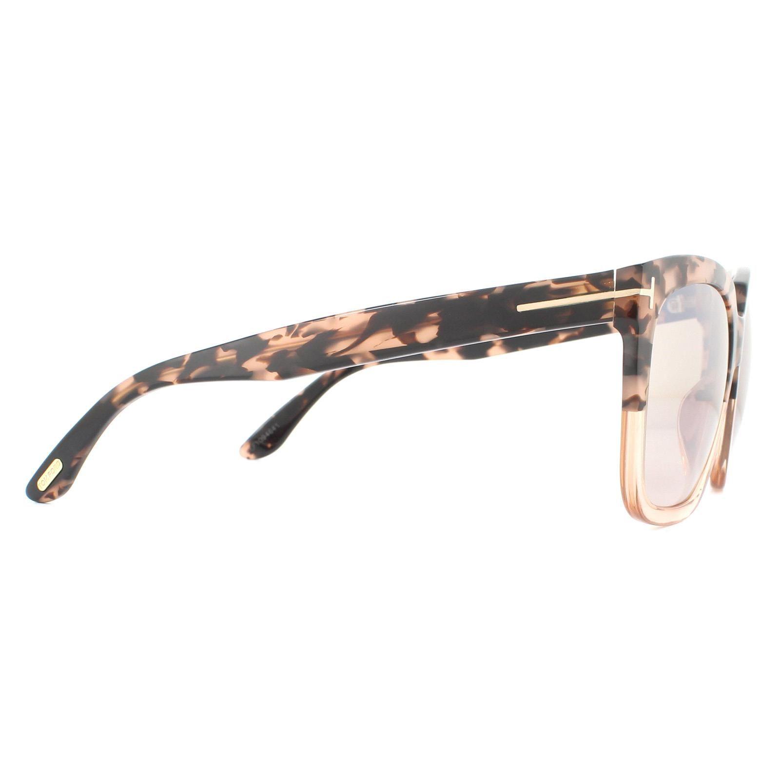 Tom Ford Sunglasses Amarra FT0502 55G Pink Havana Brown Mirror