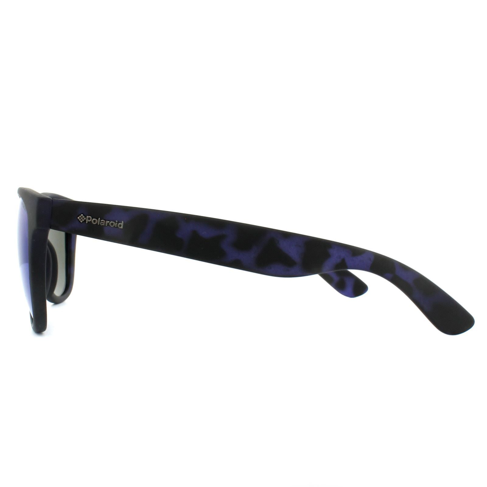 Polaroid Sunglasses P8443 FLL JY Matt Blue Pattern Blue Mirror Polarized