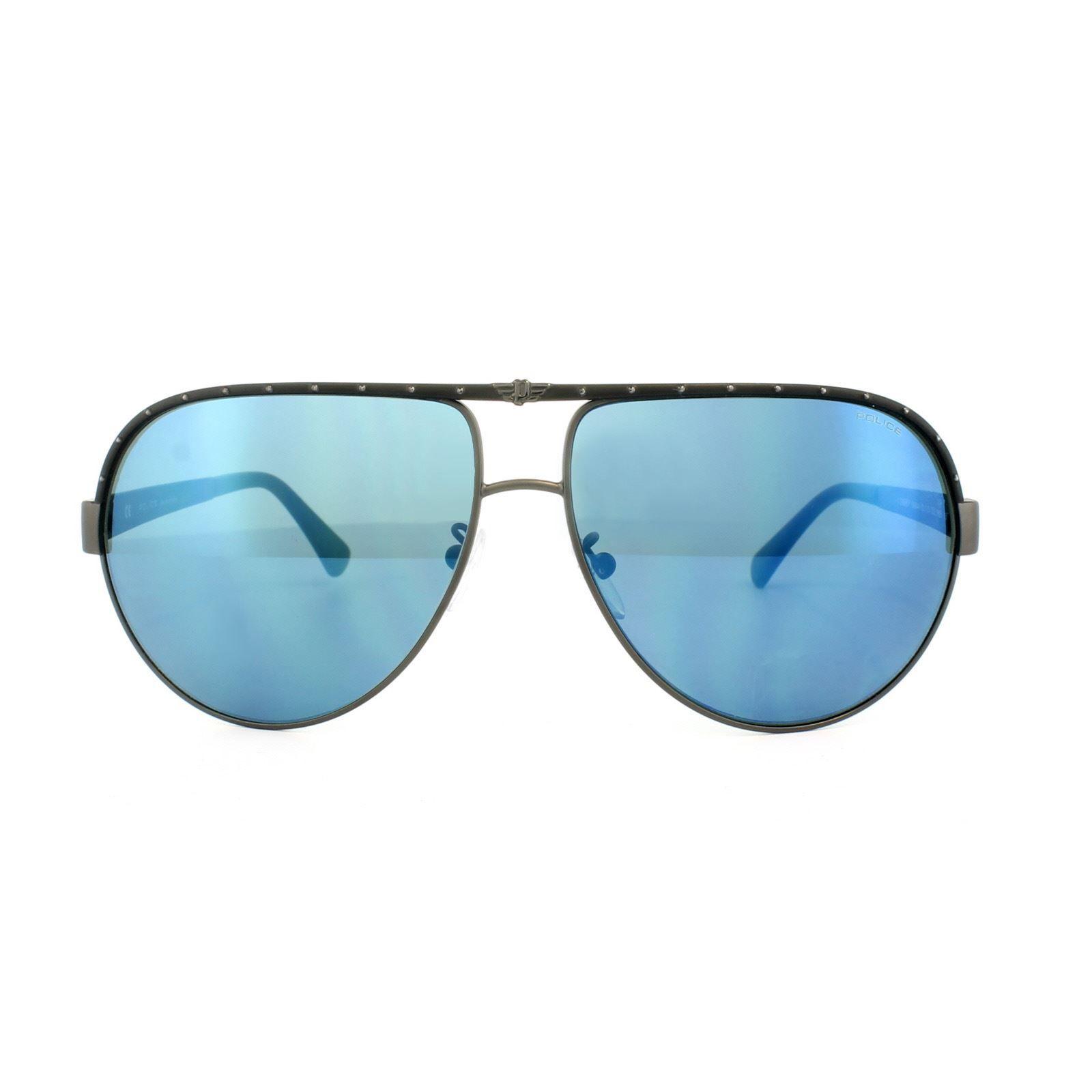 Police Sunglasses S8844 Spark 1 8H5B Matt Gunmetal Blue Mirror