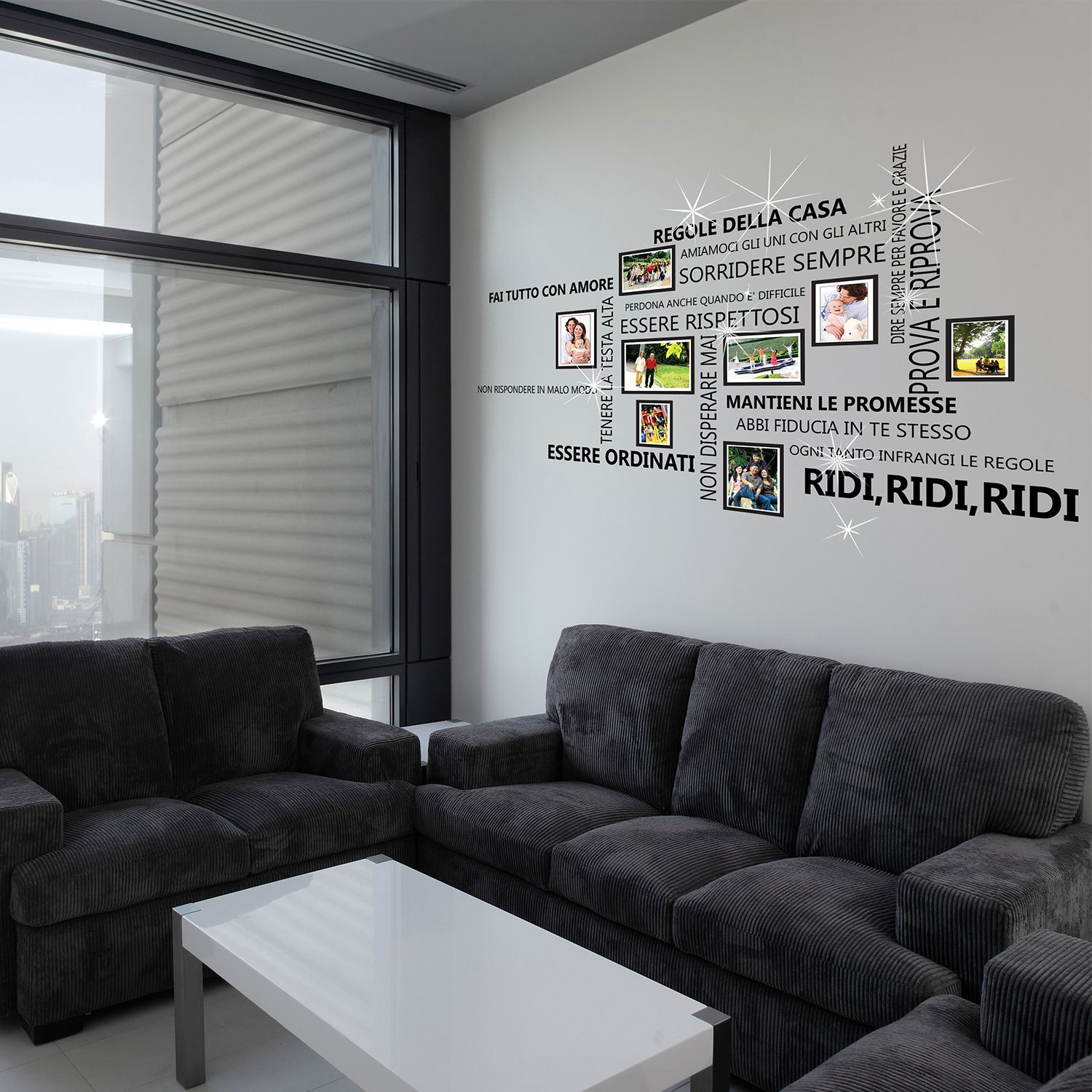 Wall Sticker Decal Italian Family Quotes with  Photo Frame Birdcage and Swarovski Crystals