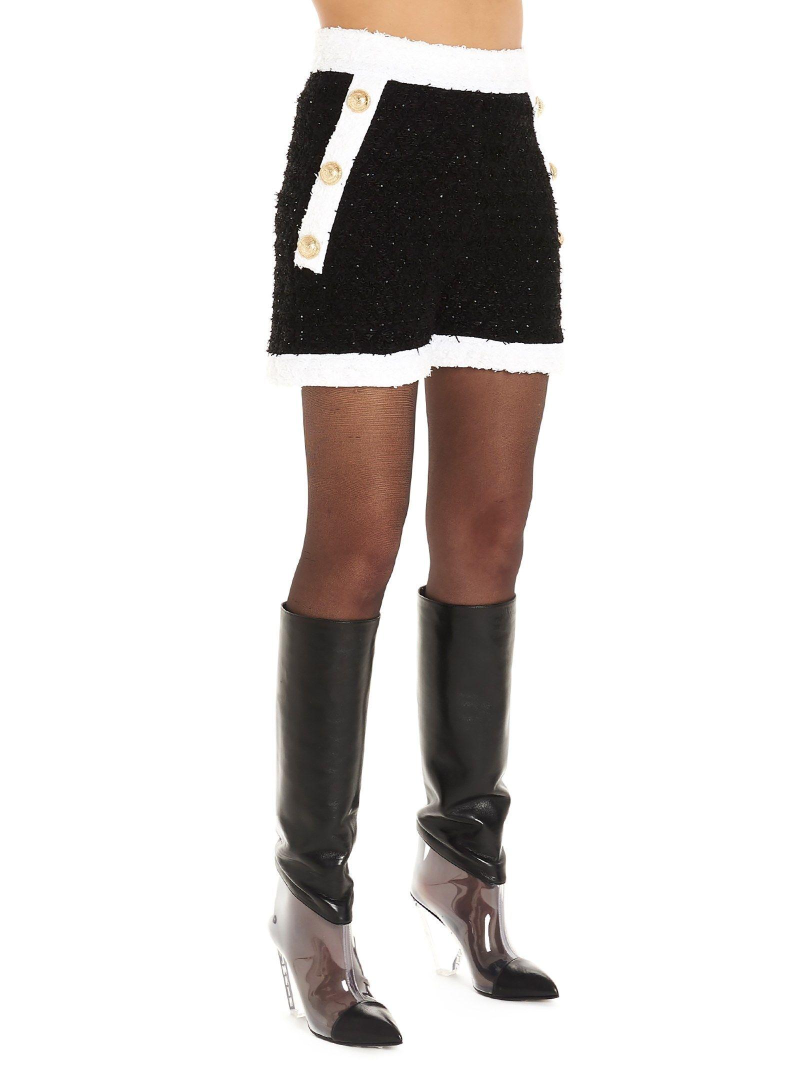 BALMAIN WOMEN'S SF15040K470EAB BLACK VISCOSE SHORTS