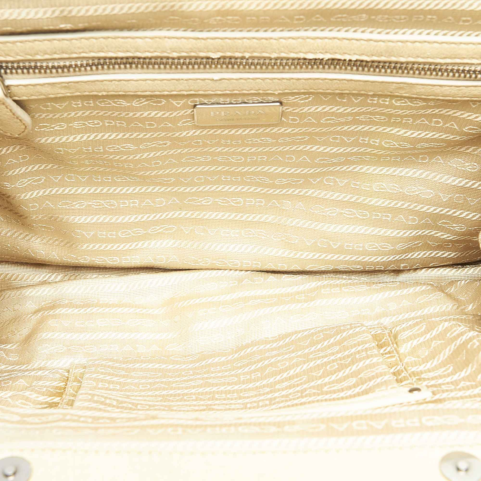 Vintage Prada Tessuto Gaufre Frame Shoulder Bag White