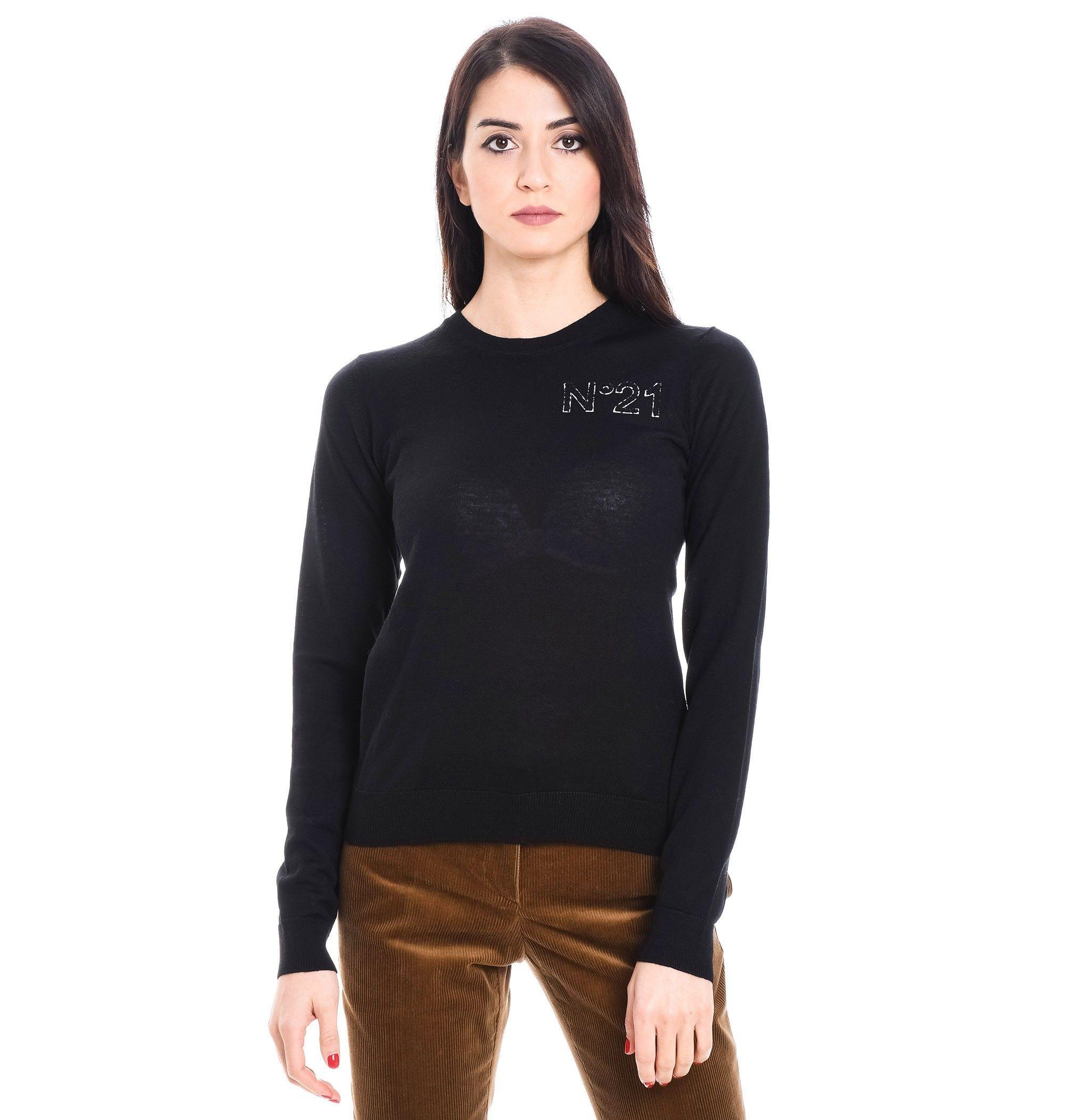 N°21 WOMEN'S A02170199000 BLACK WOOL SWEATER