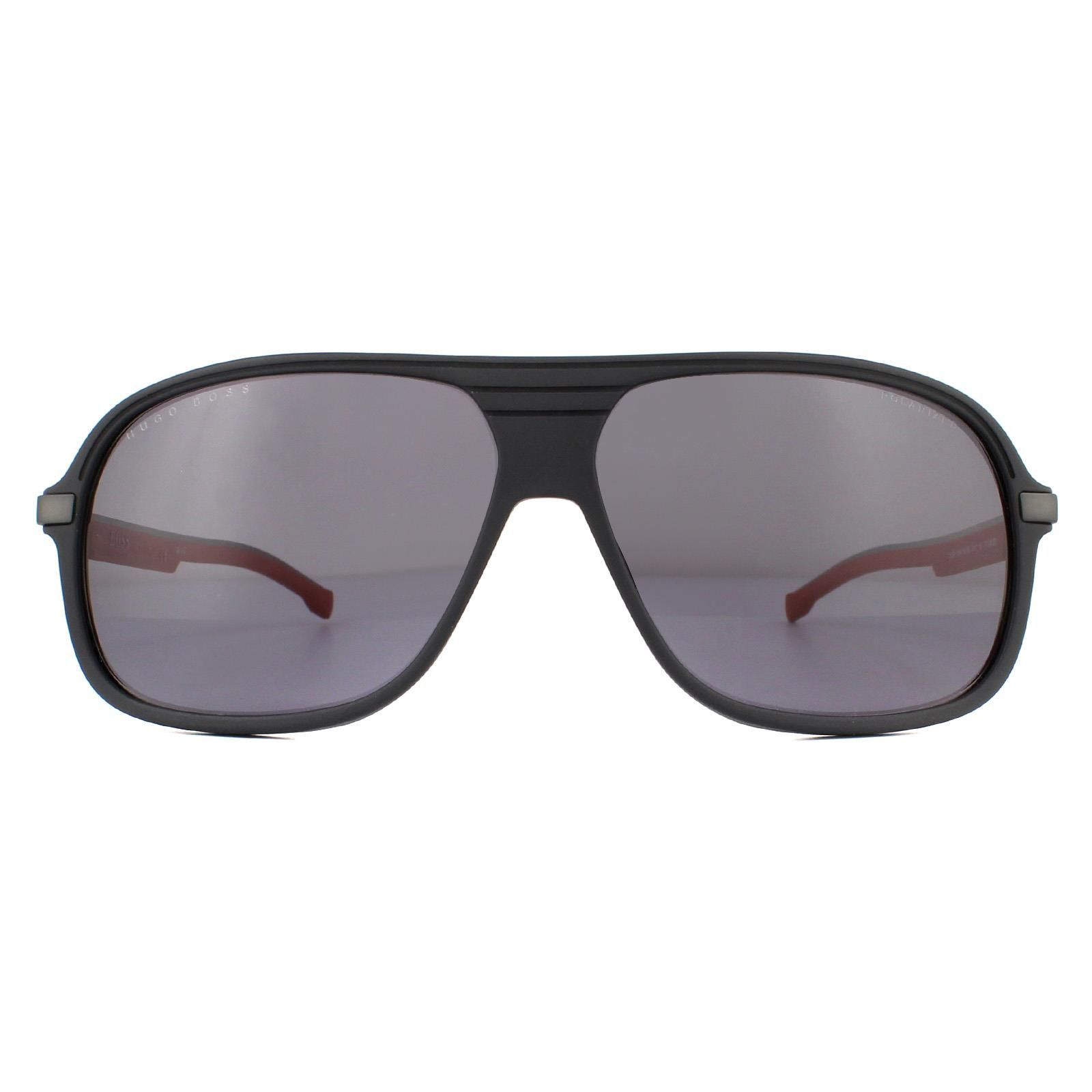 Hugo Boss Sunglasses BOSS 1200/S BLX/M9 Matte Black Red Grey Polarized