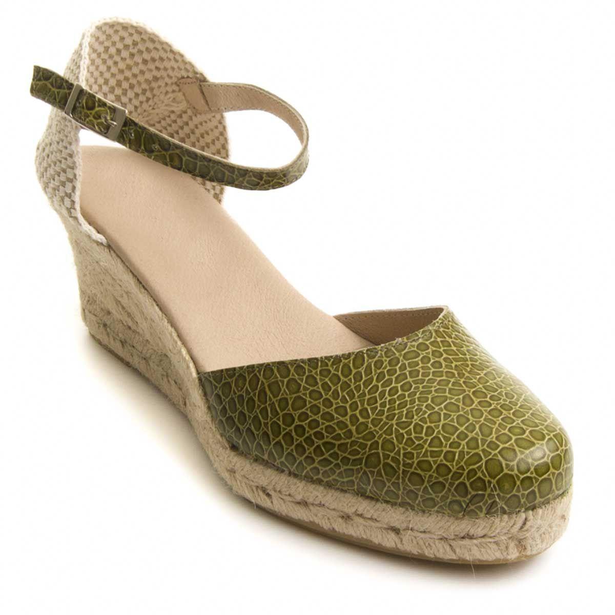 Montevita Ankle Strap Wedge Espadrille in Green