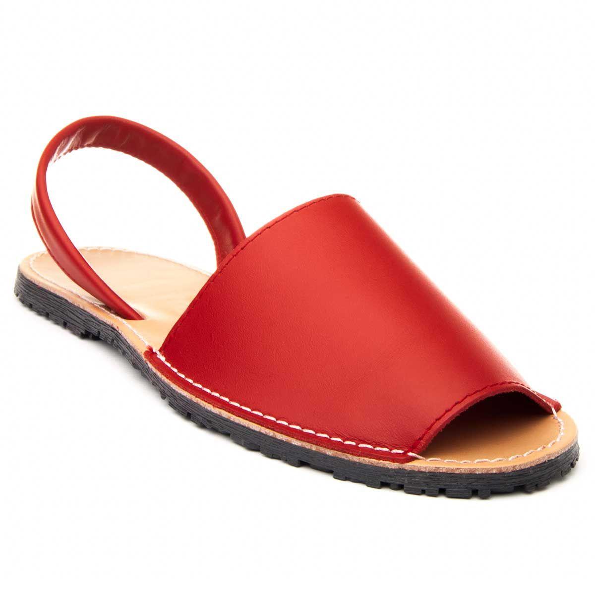 Purapiel Slingback Flat Sandal in Red