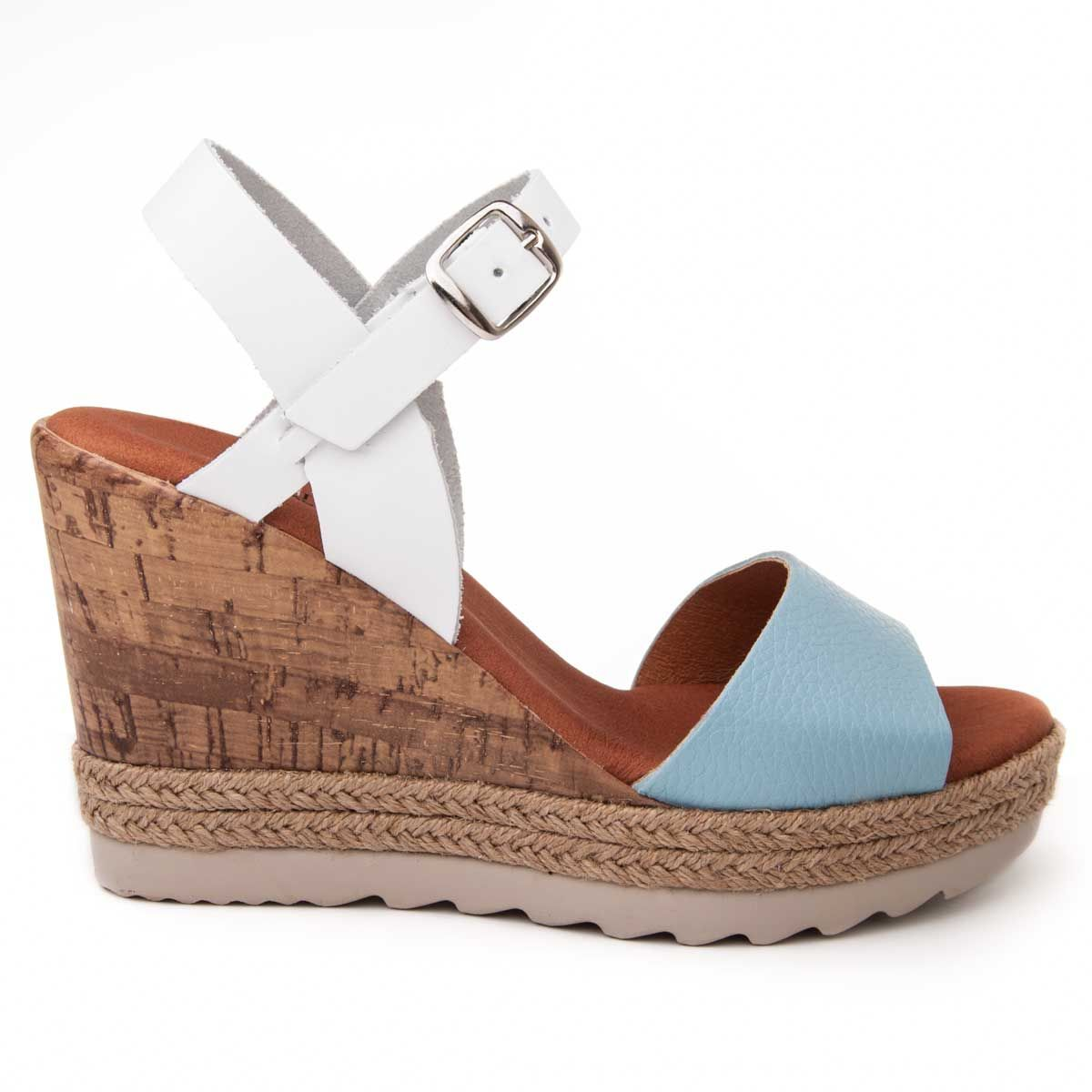 Purapiel Platform Sandal in Blue
