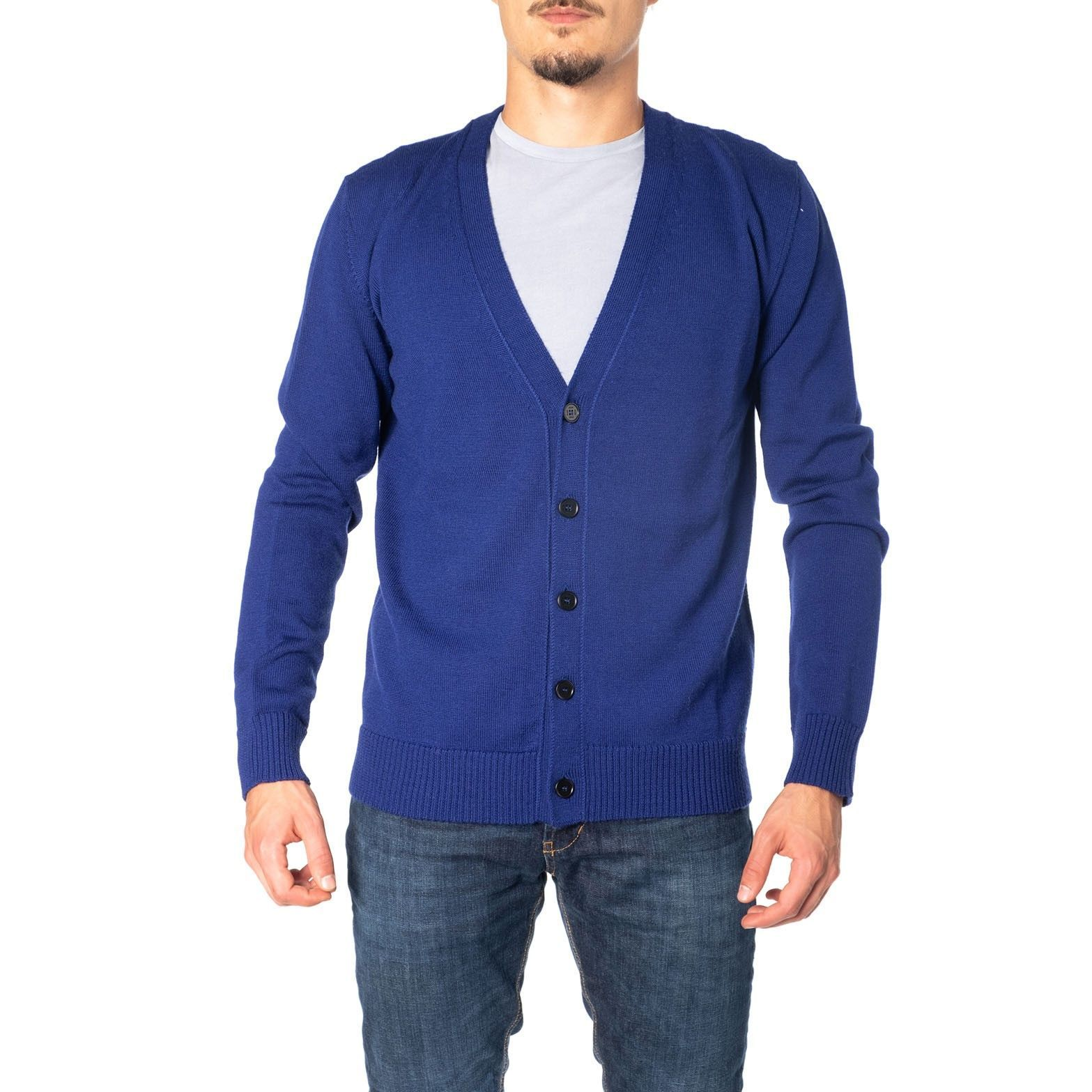 MSGM MEN'S 2740MM13119558189 BLUE WOOL CARDIGAN