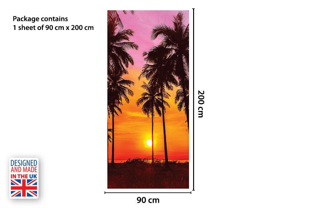 Tropical Sunset Self-Adhesive Door Mural Sticker For All Europe Size 90CmX200CM