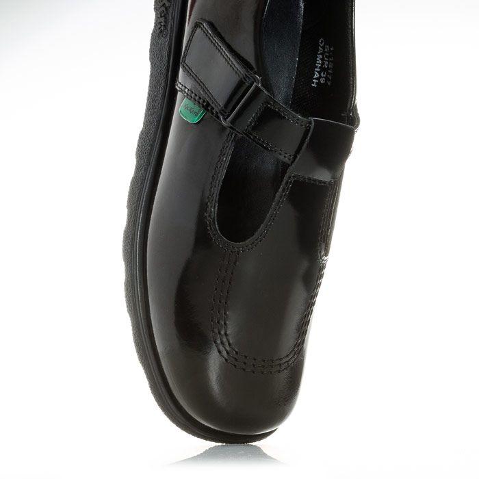 Girls' Kickers Junior Fragma T-Bar Patent Shoes in Black