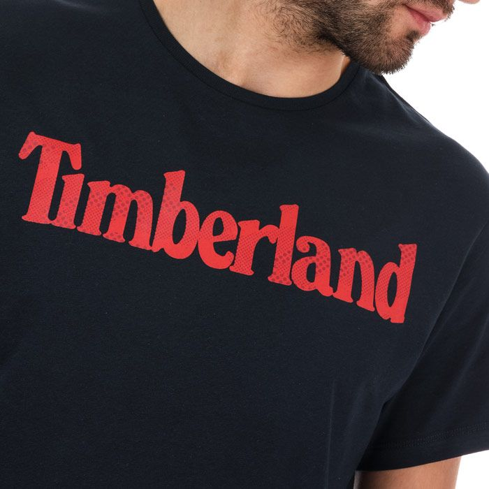 Men's Timberland Season Linear Logo Crew T-Shirt in Navy