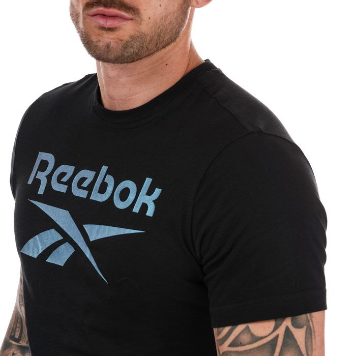 Men's Reebok Graphic Series Stacked T-Shirt in Black Silver
