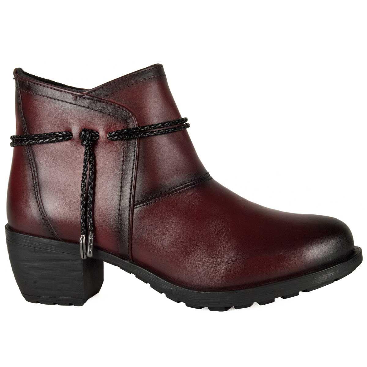 Purapiel Cord Tie Heeled Ankle Boot in Bordo