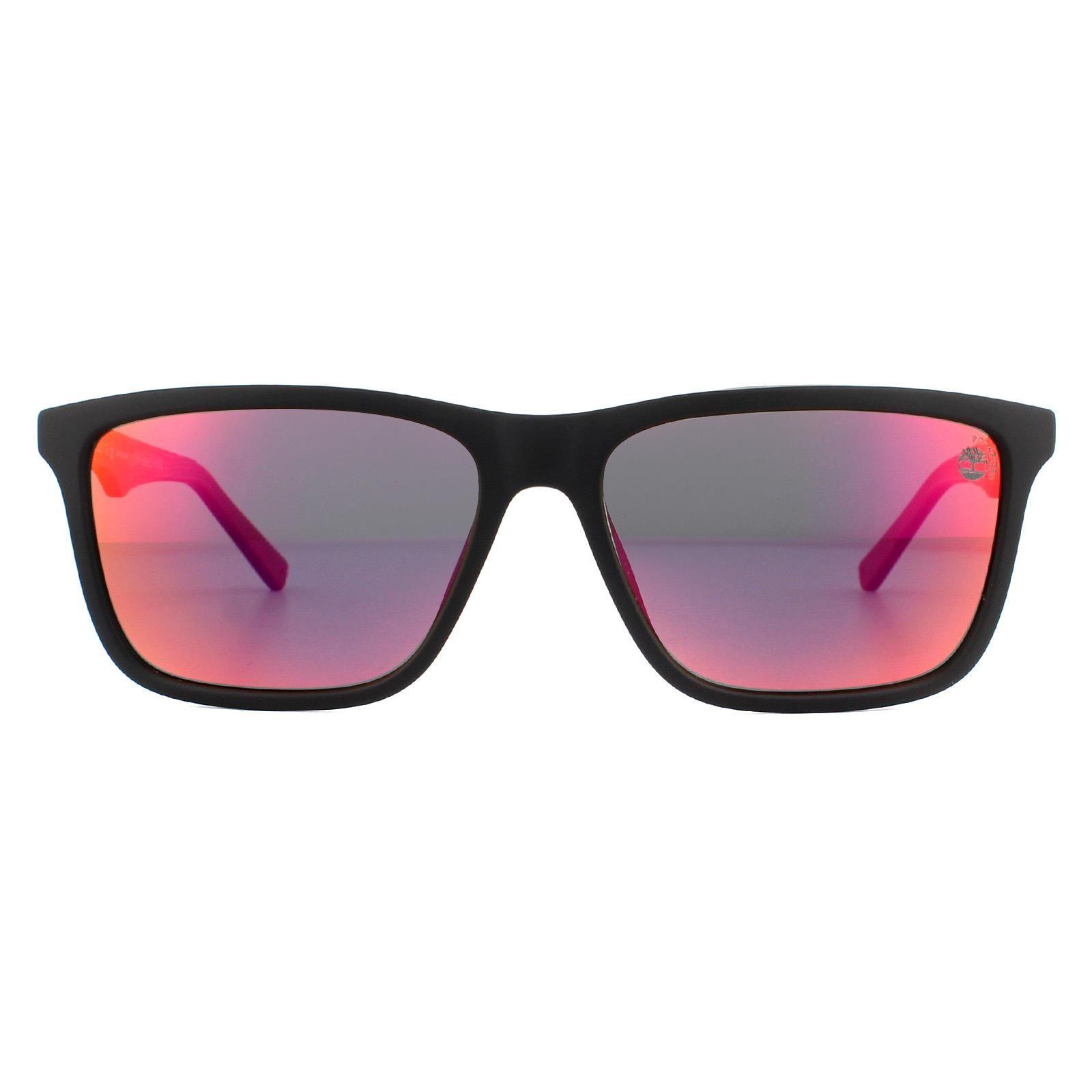 Timberland Sunglasses TB9174 02D Matte Black Red Smoke Grey Polarized