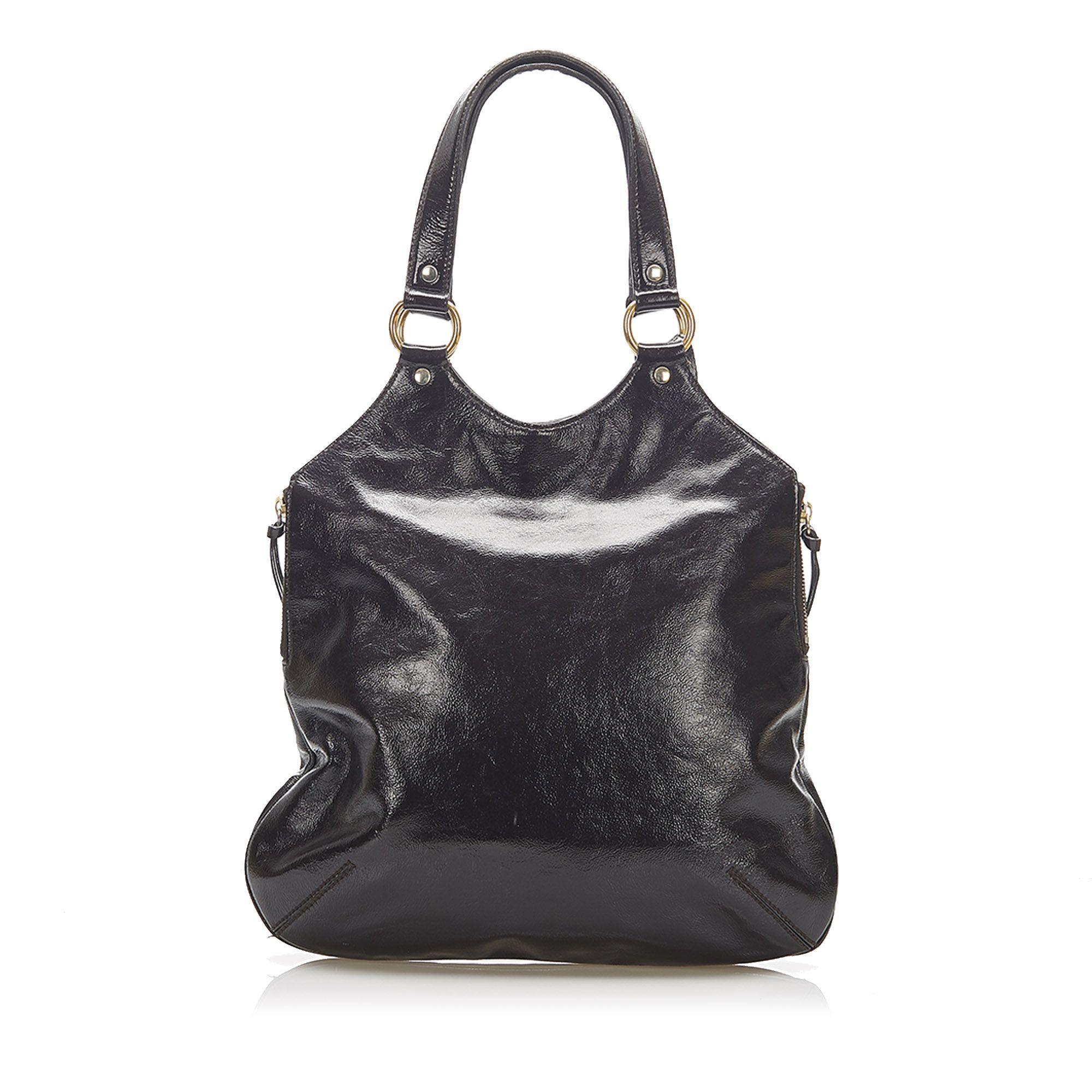 Vintage YSL Sac Metropolis Patent Leather Tote Bag Brown