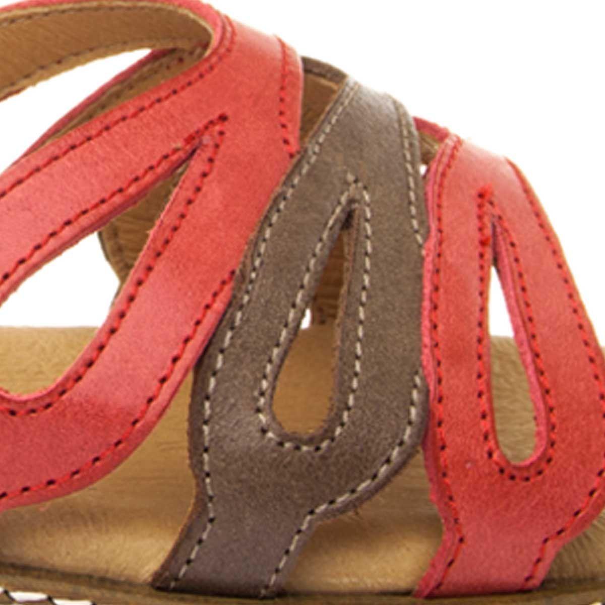 Purapiel Flat Wedge Sandal in Red