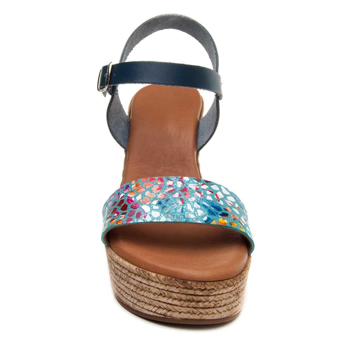 Purapiel Ankle Strap Wedge Espadrille in Blue