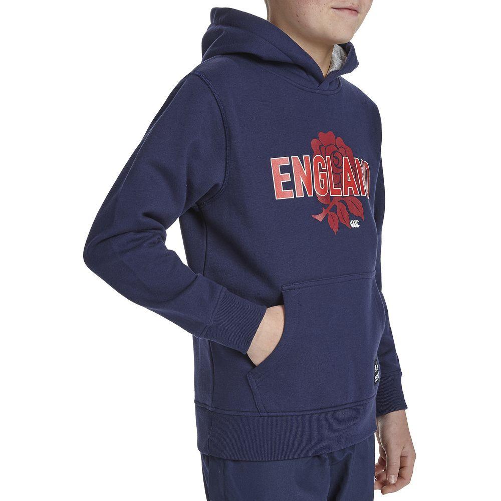 Canterbury Boys England Rose Printed Pull Over Hoodie Top