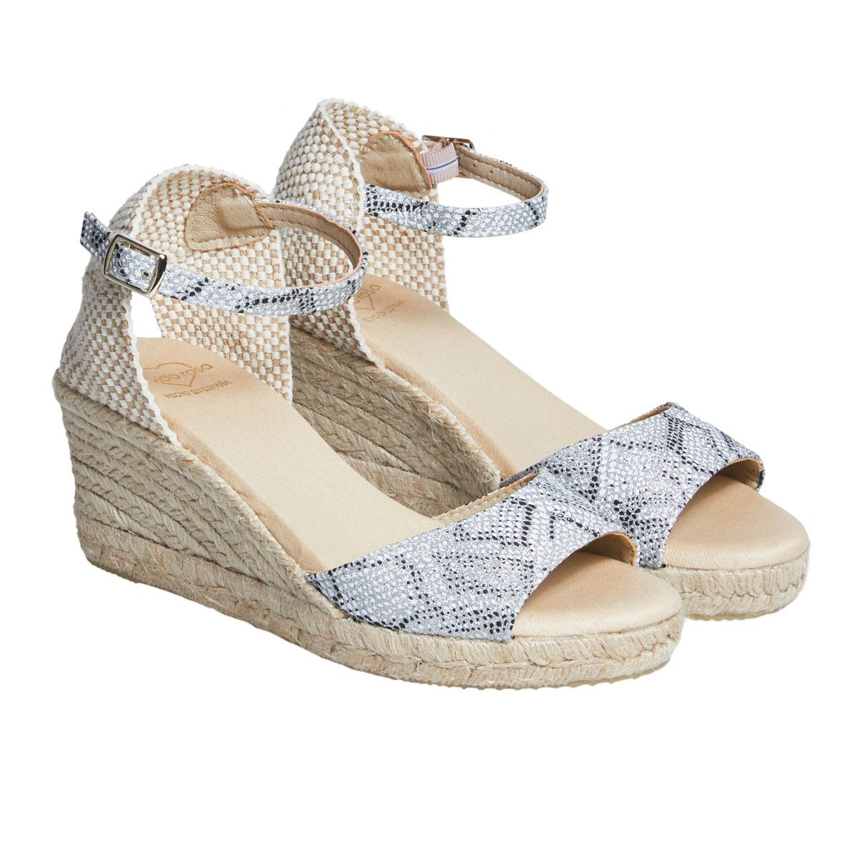 Leindia Ankle Strap Wedge Espadrille in Silver