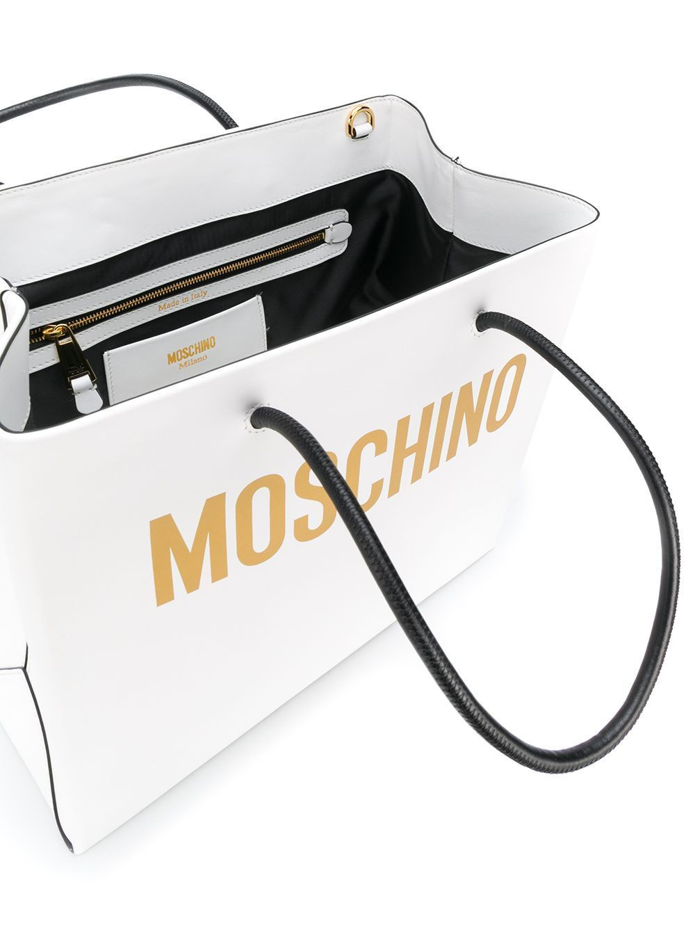 MOSCHINO WOMEN'S A741480014001 WHITE LEATHER HANDBAG