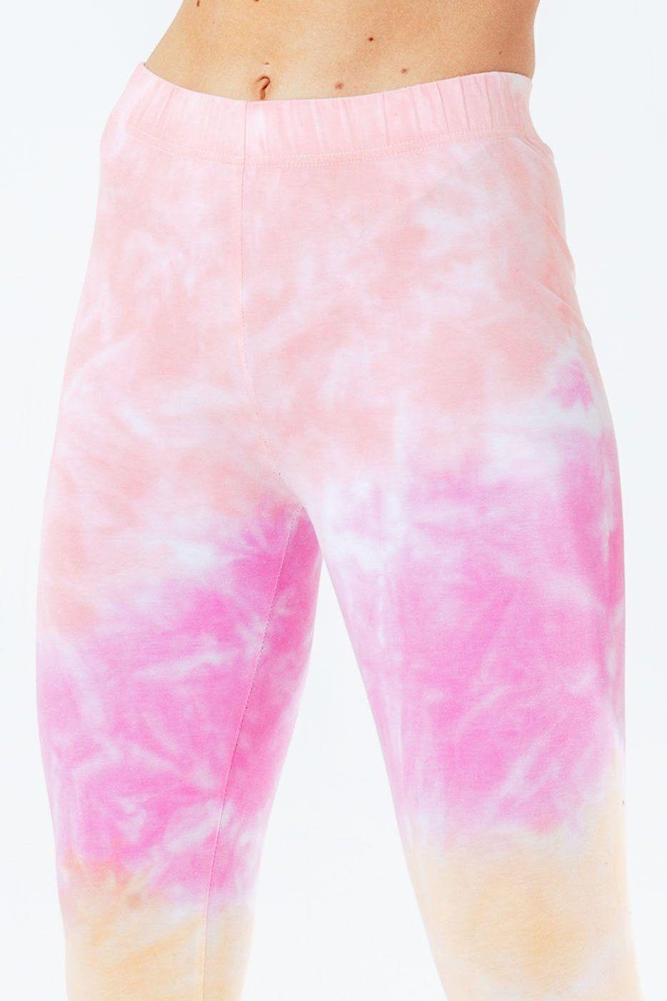 Hype Pink Tie Dye Scribble Logo Women's Leggings