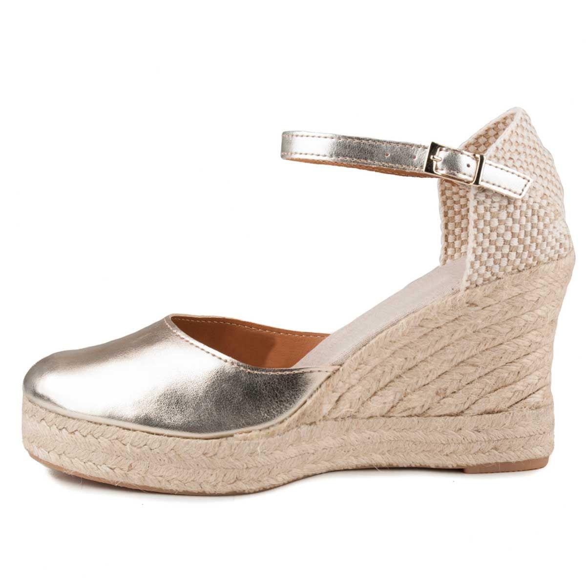Montevita Ankle Strap Wedge Espadrille in Gold