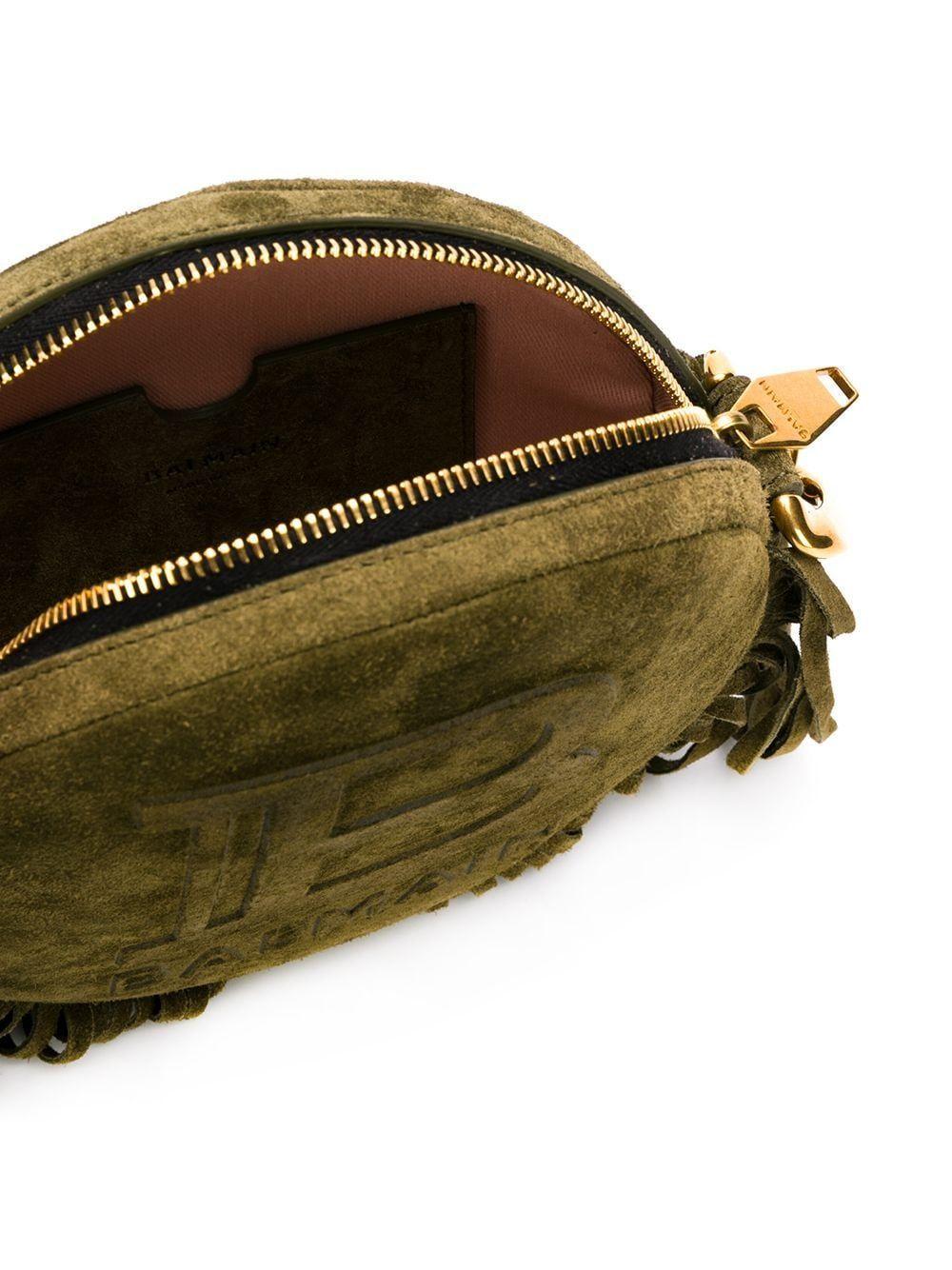 BALMAIN WOMEN'S TN1S423LLCH7UA GREEN LEATHER SHOULDER BAG