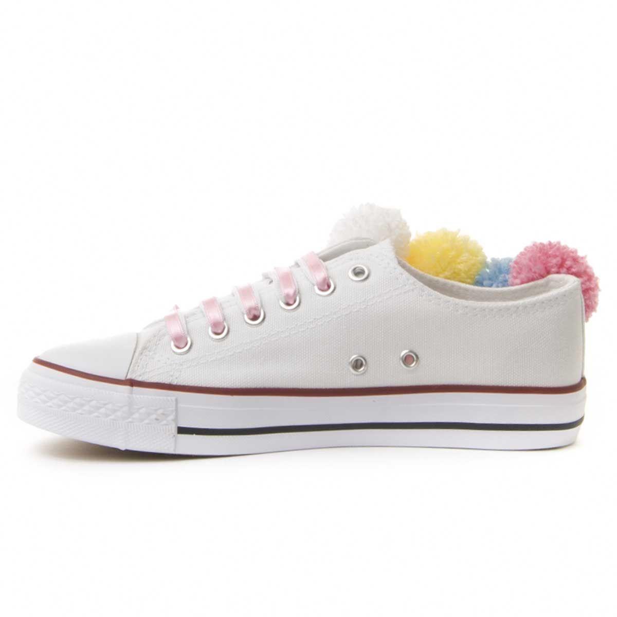 Montevita Pom Pom Sneaker in White