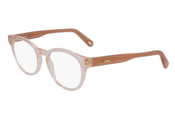 Chloe Rectangular plastic Unisex Eyeglasses Peach / Clear Lens