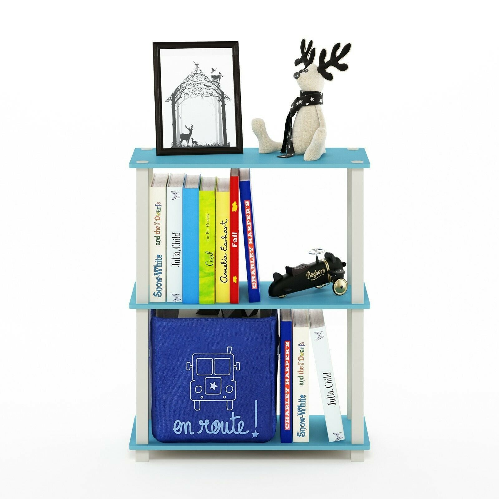Furinno Turn-S-Tube 3-Tier Compact Multipurpose Shelf Display Rack with Square Tube, Light Blue/White