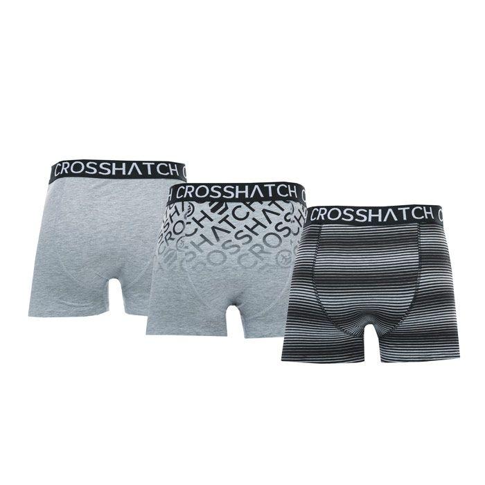 Men's Crosshatch Black Label Formbee 3 Pack Boxer Shorts in Grey