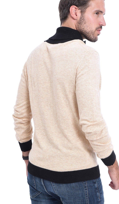 C&JO Two-tone Shawl Collar Sweater in Beige