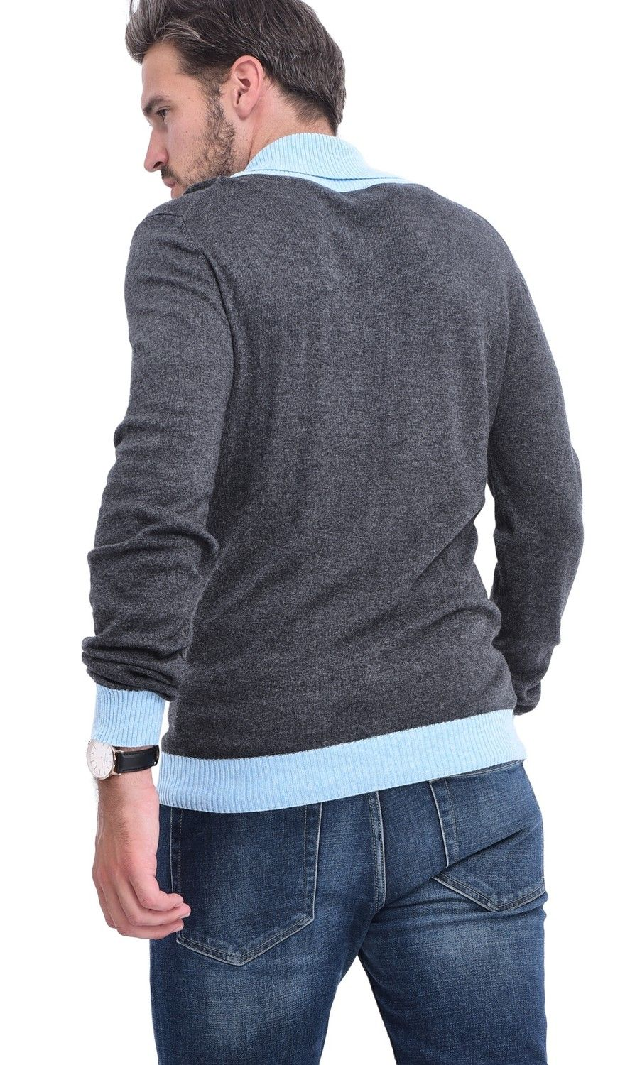 C&JO Two-tone Shawl Collar Sweater in Grey