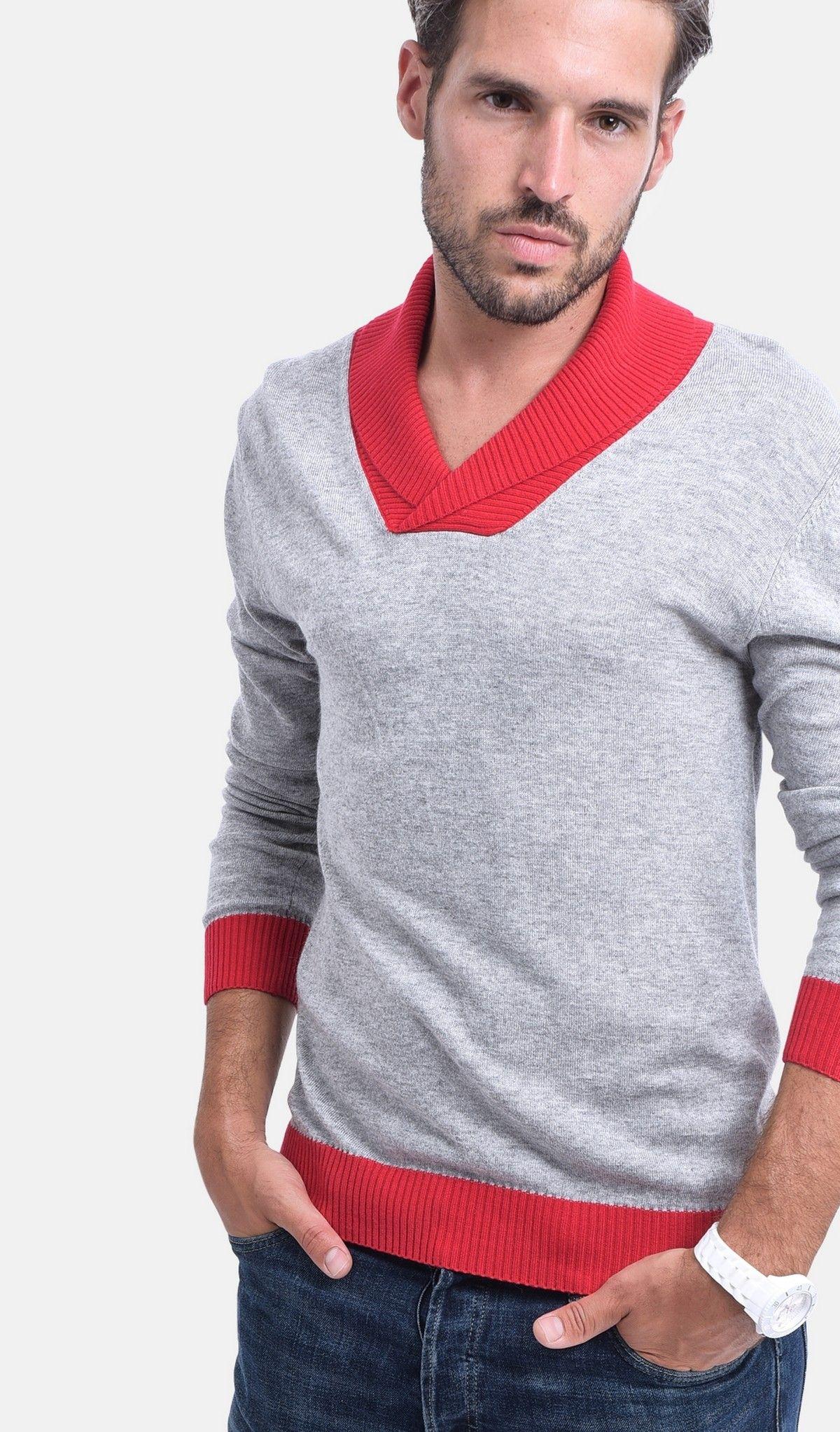 C&JO Two-tone Shawl Collar Sweater in Grey