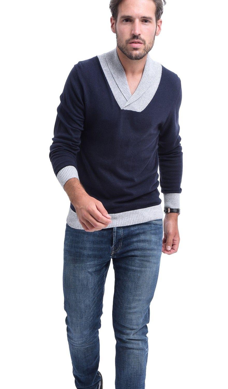 C&JO Two-tone Shawl Collar Sweater in Navy