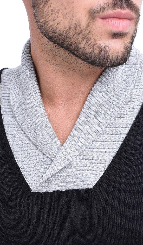 C&JO Two-tone Shawl Collar Sweater in Black