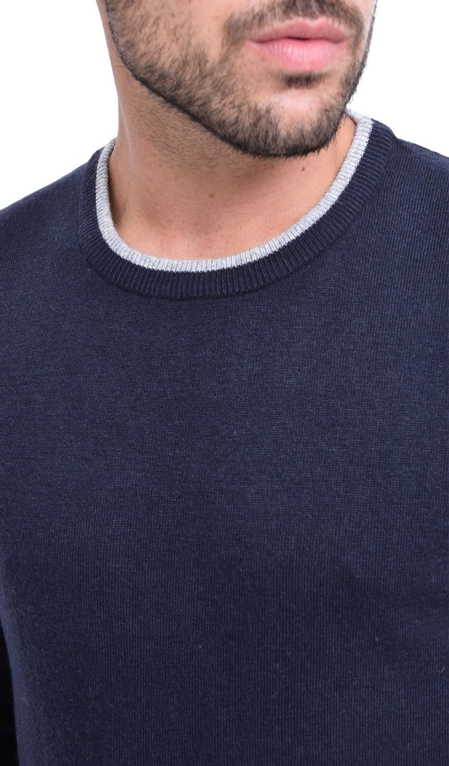 C&JO Round Neck Two-tone Sweater in Navy