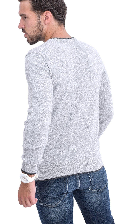 C&JO Round Neck Two-tone Sweater in Grey