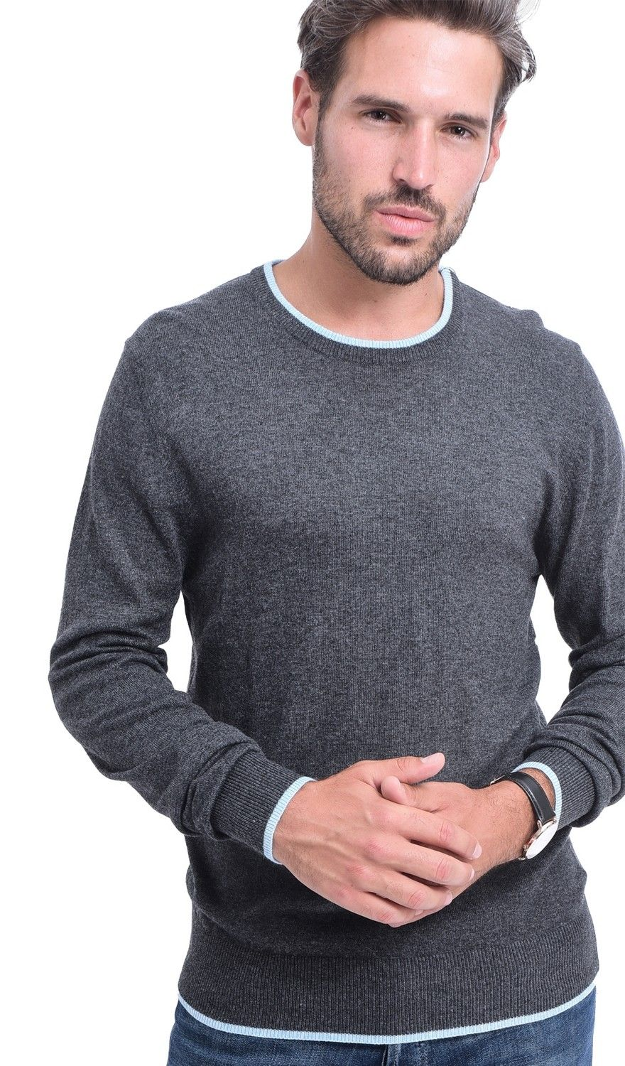C&JO Round Neck Two-tone Sweater in Grey