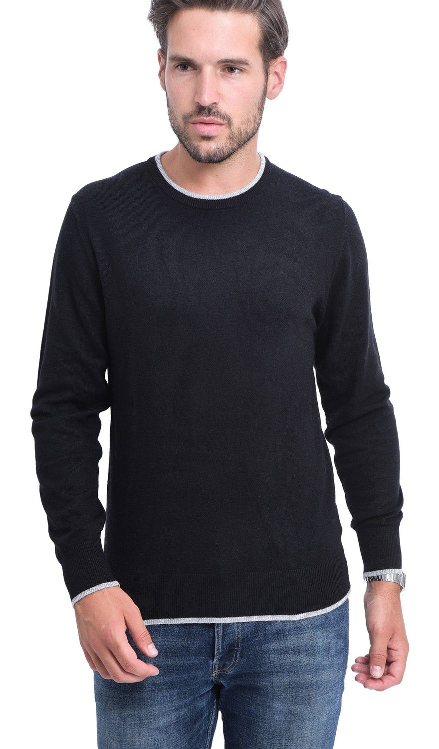 C&JO Round Neck Two-tone Sweater in Black