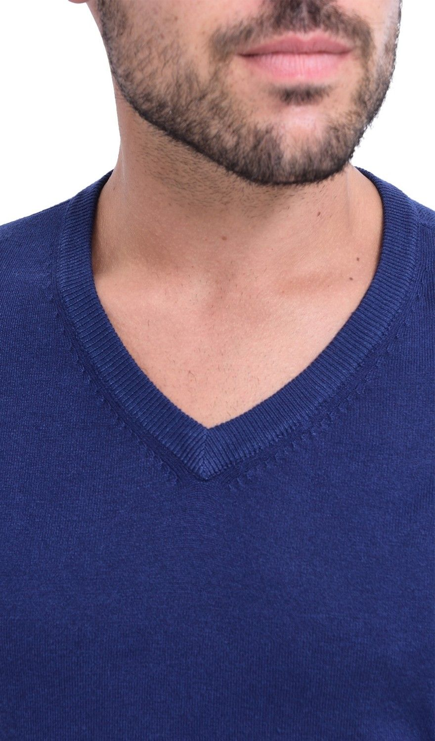 C&JO V-neck Elbow Patch Sweater in Navy