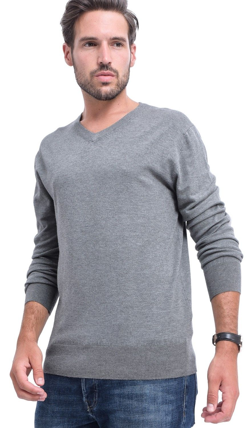 C&JO V-neck Elbow Patch Sweater in Grey