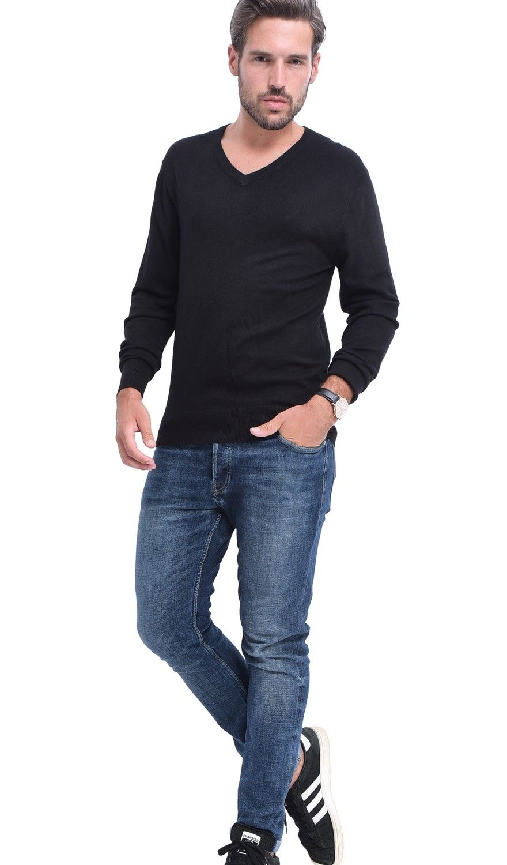 C&JO V-neck Elbow Patch Sweater in Black