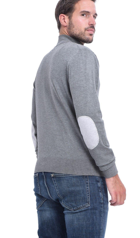 C&JO Half-Zip Elbow Patch Sweater in Grey