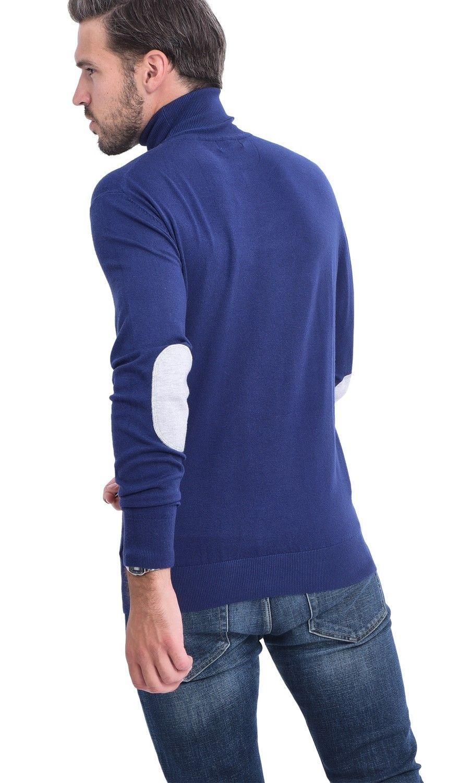 C&JO Turtleneck Elbow Patch Sweater in Navy