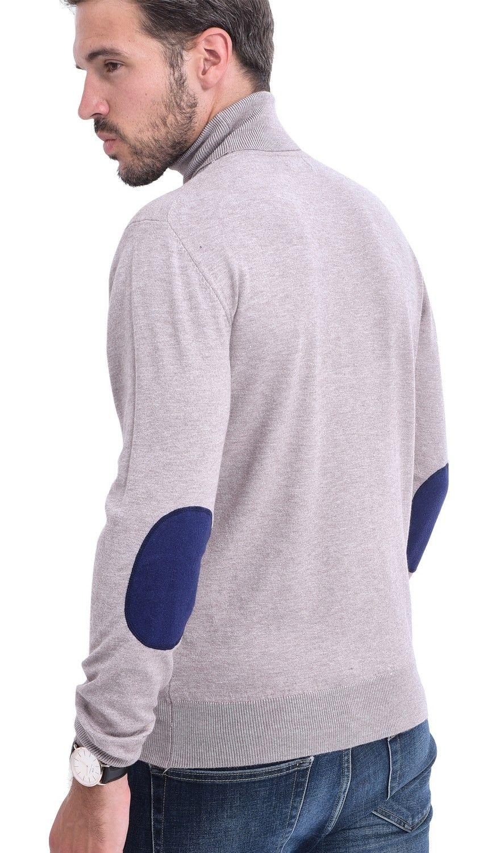 C&JO Turtleneck Elbow Patch Sweater in Beige